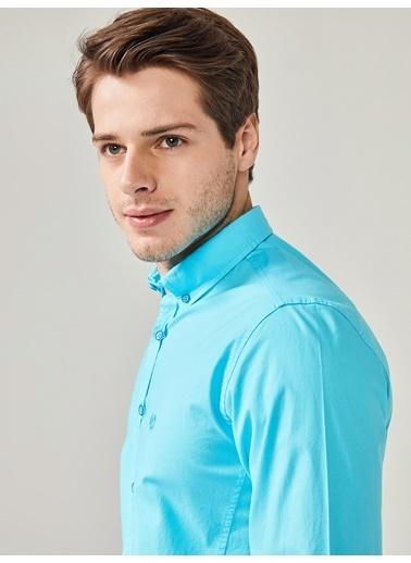 Xint Uzun Kollu Klasik Gömlek Turkuaz